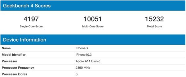 Apple A11 Geekbench Scores